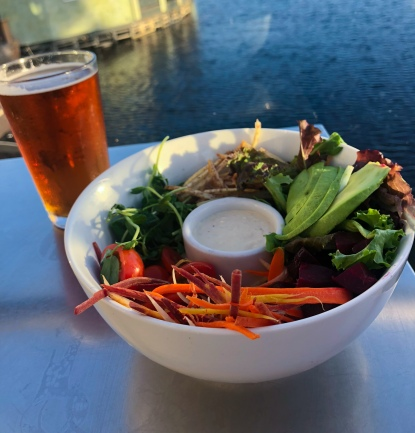 Buddha Bowl and Amber Ale Local Beer